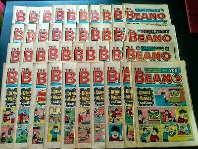 Beano UK Comic, Job Lot of 40 Issues 1980's, Used, Old, Vintage