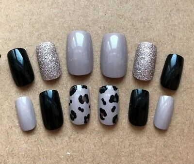 Hand Painted False Nails Square (or any shape) Black Nude Leopard Champagne
