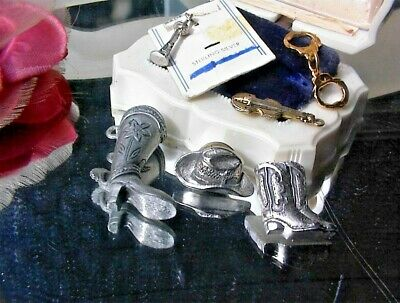 Huge Lot~Vintage Cowboy Western Texas Hat Guitar Sterling Silver Oil Charm Pins