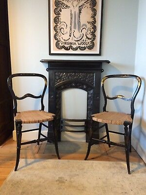 Pair Of 19th Century French Ebonised Parlour Chairs - Mother Of Pearl/Gild Inlay