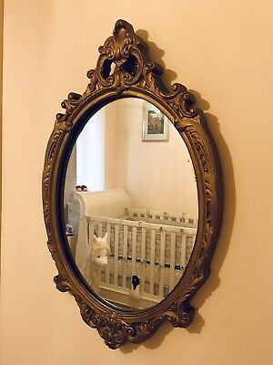 Large Antique GOLD GOLDEN 70 x 45cm Oval Round Wall Mirror / Photo Picture Frame