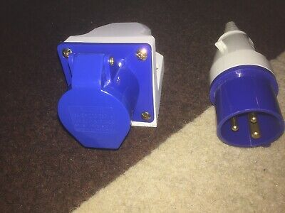 3 Pin Blue Surface Mounted Socket & Plug 240 Volt 16amp