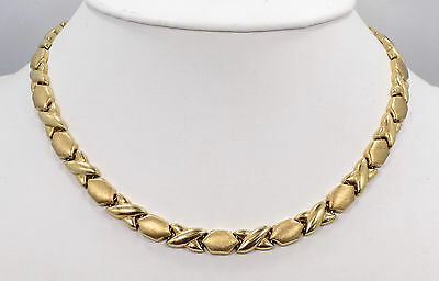 """Heavy 14k Solid Yellow Gold Polished & Textured Stampato Necklace ~ 16"""" ~ 20 Gr"""
