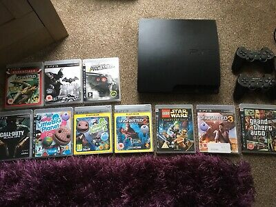 Playstation PS3 160gb Console With 10 Games And Two Wireless Controllers