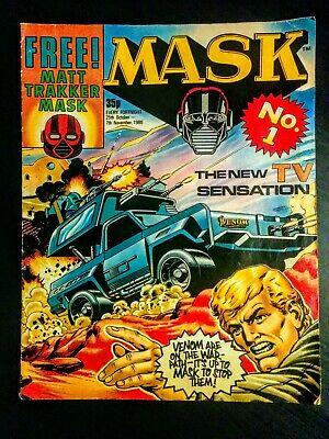 MASK Issue #1 UK Cartoon Action Comic 1980's, Used, Old, Vintage