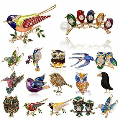Vintage Women Birds Owl Brooch Pin Crystal Enamel Badge Animals Jewelry Gift New