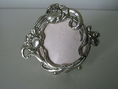 ART NOUVEAU SILVER POPPY DESIGN SMALL MIRROR with STAND -VINTAGE