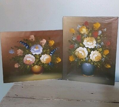 2 X Oil Paintings On Canvas - Floral Print - Vintage Floral Oil Painting