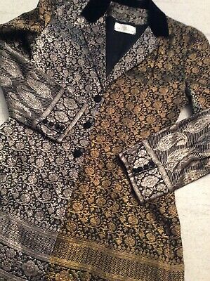 Vintage Suit Fit Flare Jacket Cropped Trousers Size 8 Gold Silver Black Stunning