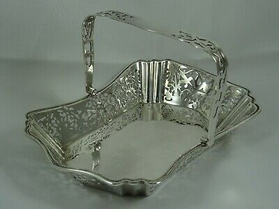 PRETTY solid silver SWEET BASKET, 1909, 274gm