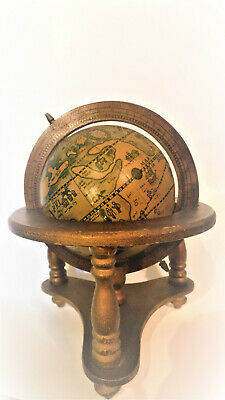 Vintage Old World Terrestrial Zodiac Desk Top Wooden Globe - Made in Japan