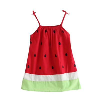 Cute Watermelon Print Baby Child Strap Dress Summer Girls Casual Sundress (3-4T)