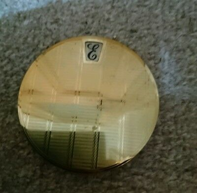 Beautiful Vintage stratton Initial Letter 'e' Goldtone Make Up compact
