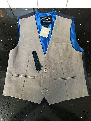 Boys Next Waistcoat. Grey And Blue.  Age 7 Years.  Height 122 Cm.  New With Tags