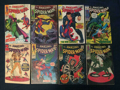 AMAZING SPIDER-MAN Silver Age Lot of 8: #47,49,58,63,66,70,73,93 Mysterio,Kraven