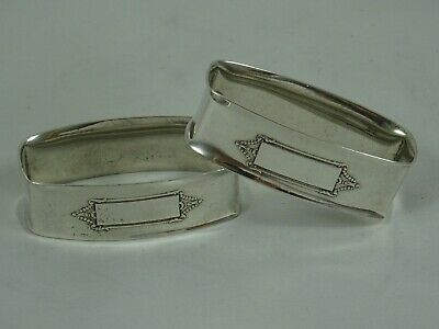 PAIR, sterling silver NAPKIN RINGS, c1940, 39gm