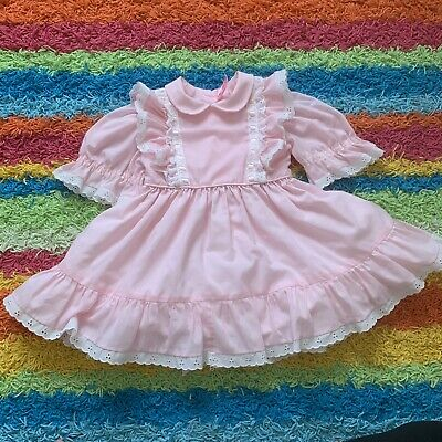 Vintage Girls Dress Handmade Pink Ruffles Eyelette Full Skirt Sz 3/4