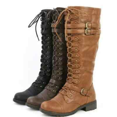 Sexy Lace Up Knee High Boots Women Fashion Boots Flats Shoes  Rubber Flock Boots
