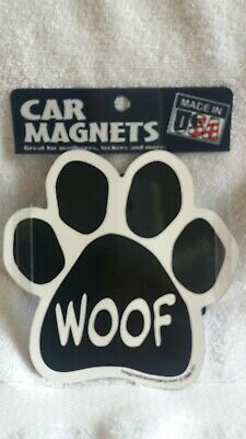 "WOOF Paw Magnet US Made Car Magnet Dog Rescue 5"" New"