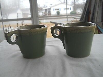 Lot Of 2 Vintage Hull Oven Proof Usa Avocado Green Drip Coffee Cups Mugs