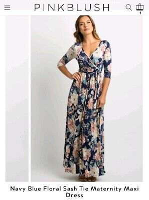 8d2cf7e721 NWT PINK BLUSH maternity LARGE Navy blue floral sash tie maxi dress ...