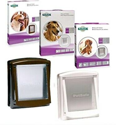 Small Pet Door Dog Cat 2 Way Entrance Flap Lockable Brown Frame StayWell PetSafe