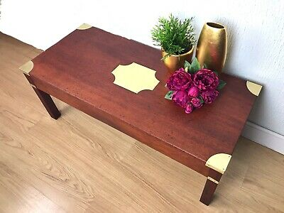 Campaign Military Vintage Antique COFFEE TABLE with Brass Corners and Brackets