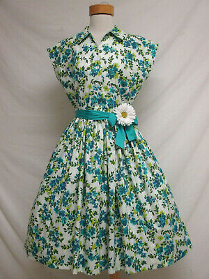 Vintage Retro Home Made Polished Cotton Floral Day Dress