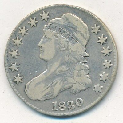 1830 Capped Bust Silver Half Dollar-A Nice Circulated Half-Ships Free! Inv:2