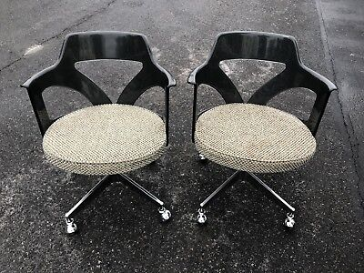 Vintage Pair of Mid Century Modern MCM Lucite Clear Gray 2 Chairs Chrome Hollis?