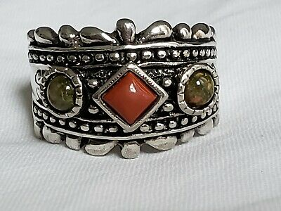 FAUX Coral Jasper Silver Tone Ring Size 9, Silver Ring, Fashion Ring