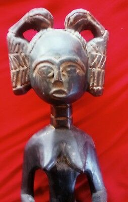 Vintage AFRICAN Female Fertility Figure GHANA wood 1970s