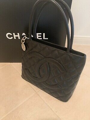 a163f6b2844f New CHANEL Black Caviar Leather Medallion CC Tote Bag Purse Silver Hardware