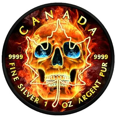 2018 Canada $5 Maple Leaf BURNING SKULL 1 Oz Silver Coin, Ruthenium N 24 Kt Gold