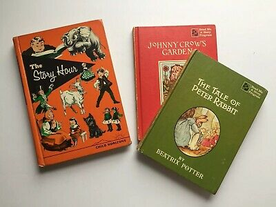 Antique Childrens Book Lot The Story Hour Peter Rabbit Fairy Tales Read Me 1958
