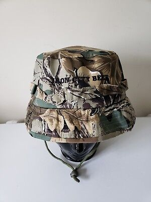 Iron City Beer Brewing Bucket Floppy Boonie Hunting Camo Chin Strap hat cap ceb744a3fcae