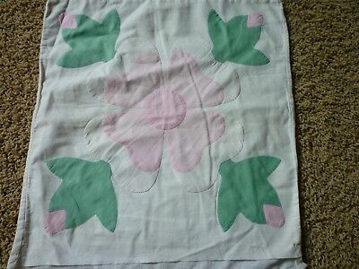 Antique Vintage Appliqued Pillow Cover 16 X 17  Rose