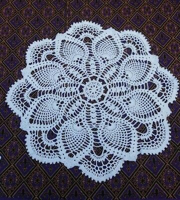 "Vintage Handmade Crochet Doily Round 17"" in Pineapple Doilies Tablecloth Wedding"