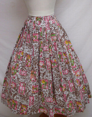 Vintage Retro Home Made Floral Print Pleated Full Skirt