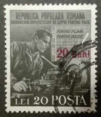 ROMANIA-RUMUNIA STAMPS - Peace Congress, Stamp of 1950 Surcharged, 1952, used
