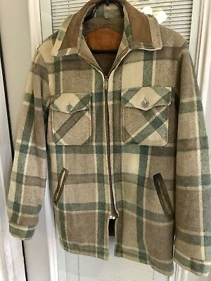 Vtg WOOLRICH Brown Green Plaid Fur Lined Leather Trim Talon Zipper Jacket S