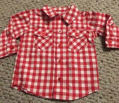 Long Sleeve Just One You Carters Boys Shirt 6 Months Red Plaid Button Down