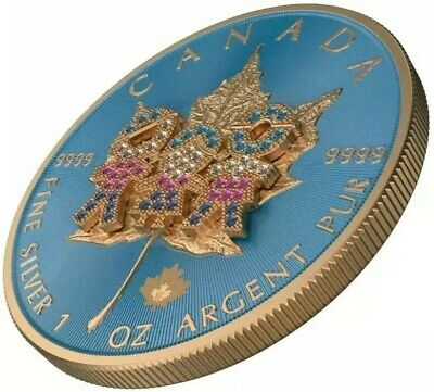 2019 1 Oz Silver 5$ Canadian FAMILY DAY BEJEWELED Maple Leaf Coin, 24K ROSE GOLD