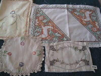 Vintage linen, hand-embroidered with for craft, quilting, restoration, completio