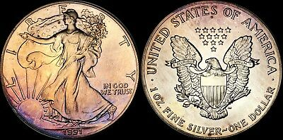 1991 Silver American Eagle $1 Dollar Bu Coin Toned In High Grade