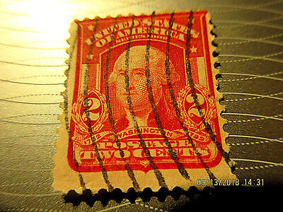 1902 2 Cent RED SHIELD Washington STAMP VERTICAL Cancel Orig VERY RARE