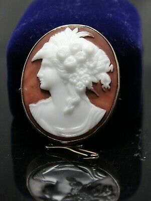 Antique Victorian c1880's 9ct Gold Cameo Brooch Fertility - Flora Goddess