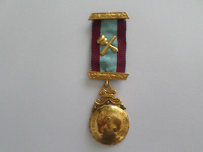 Masonic Medal with Ribbon - 1949 - Gold Colour - Good Condition