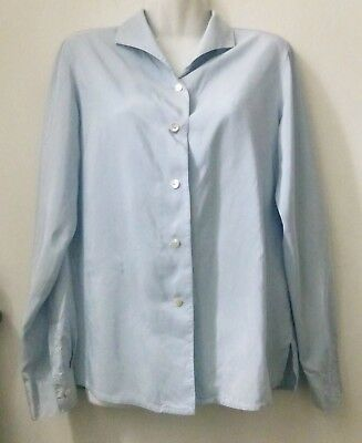 Zanella Blouse Shirt Size 6 Long Sleeve Button Down Silk Career Italy Women Blue