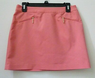 H&M Women's Size 8 Short Straight Solid Peach Pink Skirt Stretch Casual Career